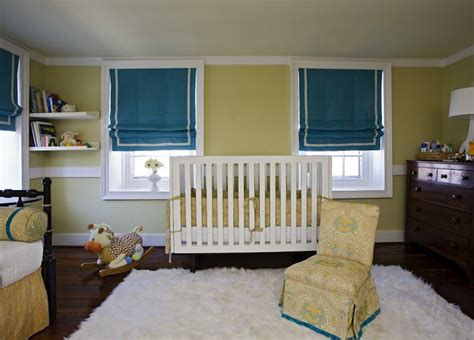 Yellow Walls Blue Curtains Decorating Baby Nursery Decor Yellow Decoration Design Baby Nursery