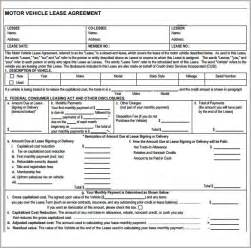 vehicle lease agreement template free sle vehicle lease agreement template 7 free