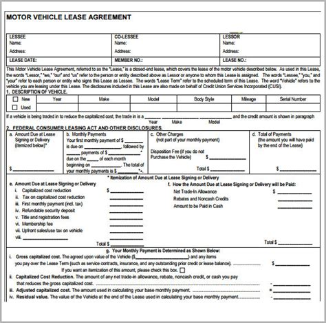free vehicle lease agreement template sle vehicle lease agreement template 7 free
