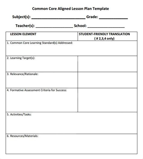 common core lesson plan template peerpex