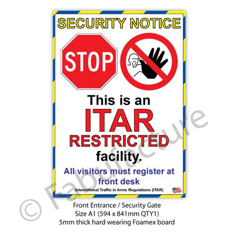 itar certification letter itar facility sign sku 10353 the lean centre