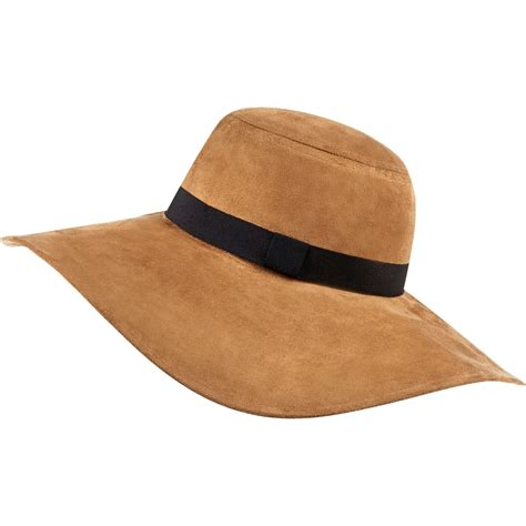 river island beige faux suede floppy fedora hat in brown