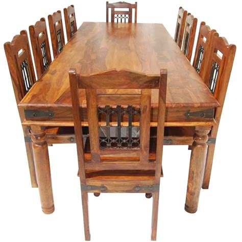 San Francisco Rustic Furniture Large Dining Table With 10 Dining Table Set For 10