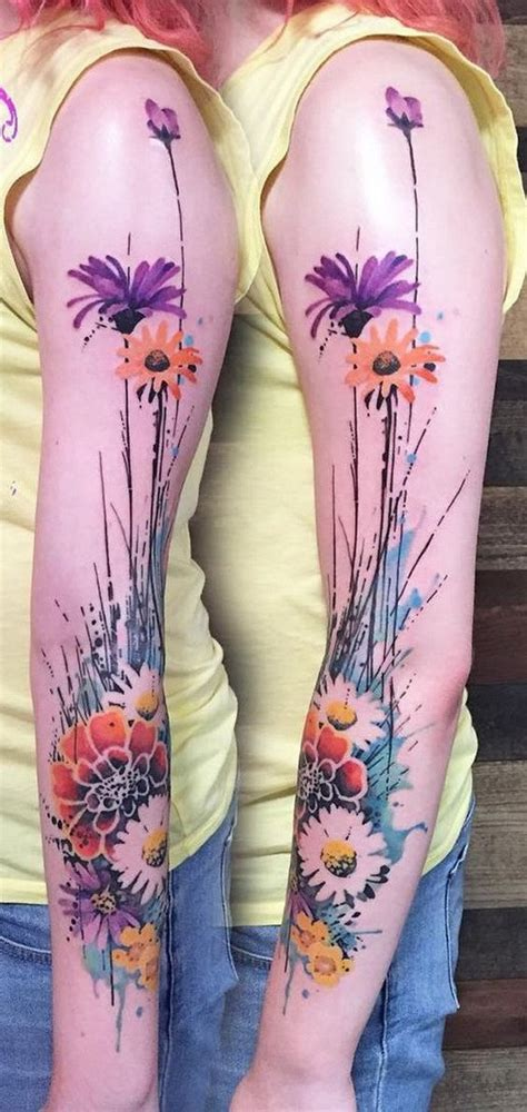watercolor style tattoo sleeve 30 cool sleeve designs for creative juice