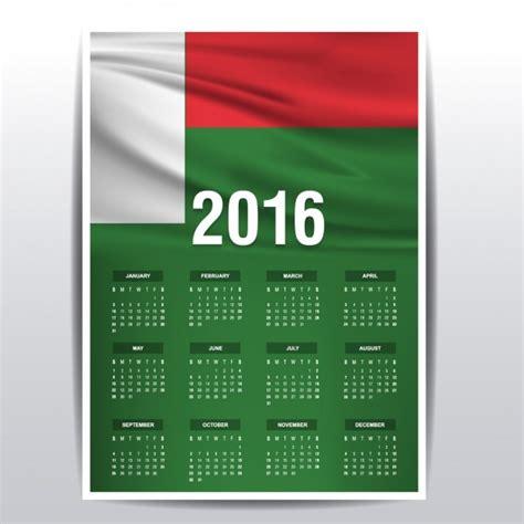 Madagascar Calend 2018 Madagascar Calendar Of 2016 Vector Free