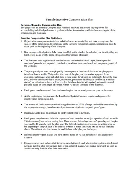 bonus plan template compensation plan template 8 free word document