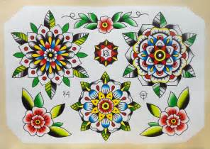 tattoo flash flowers mandala 171 old time tattoo