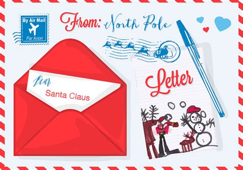 vector illustration  christmas letter  santa claus   vector art stock