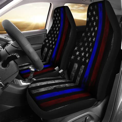 thin car seats tattered thin blue and line flag car seat covers set