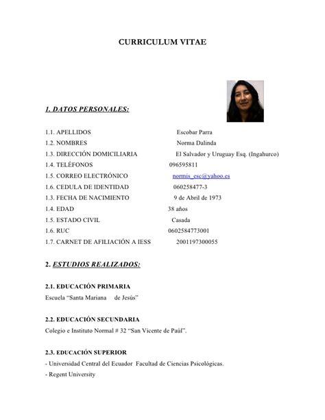 Modelo Curriculum Vitae Practicas Pre Profesionales Curriculum Vitae Norma Escobar