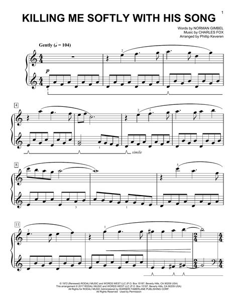 tutorial piano killing me softly partition piano killing me softly with his song de phillip