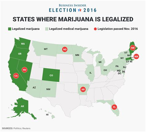 Medical Marijuana States Map by 7 States That Legalized Marijuana On Election Day