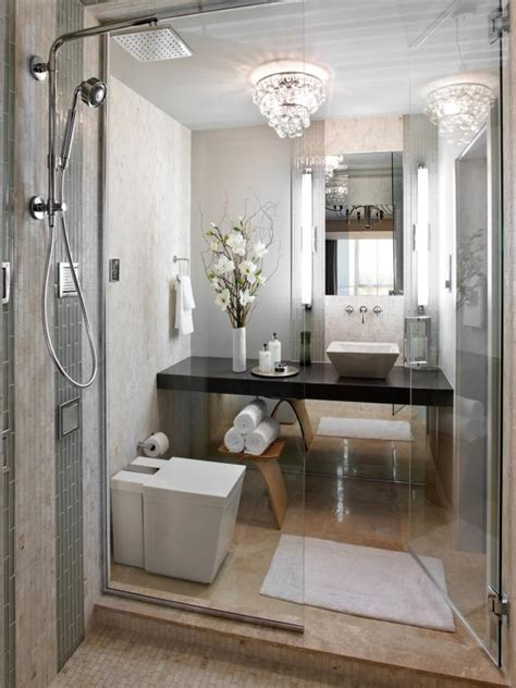 neutral small modern guest bathroom hgtv contemporary white bathroom with elegant lighting hgtv