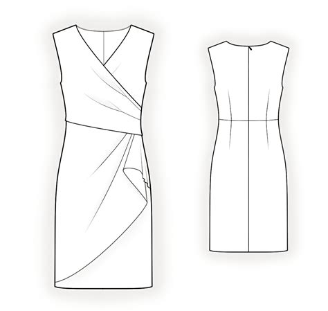 pattern drawing dress dress with decorative wrap sewing pattern 4294 made to