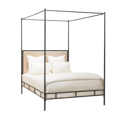 Simple California King Bed Frame Marco Bed Cal King Hammered Iron W Canopy Tapering Posts Upholstered Headboard 76 Quot W X 87