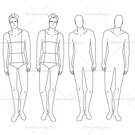 male fashion croquis template illustrator stuff