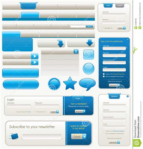 web design layout elements blue website design elements stock vector illustration
