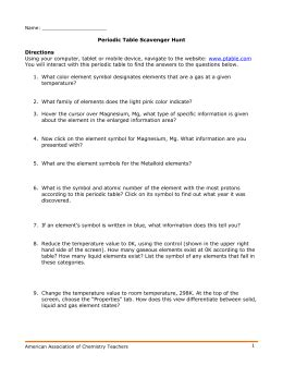 periodic table scavenger hunt worksheet answer key periodic table scavenger hunt answer key directions