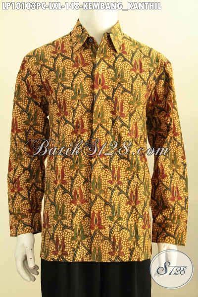 Kemeja Batik Kawung Grompol Printing Lengan Panjang kemeja lengan panjang harga terjangkau hem batik klasik istimewa untuk penilan berwibawa