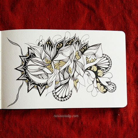 pattern drawing ink zentangle lines abstract pattern ink and gold draw by
