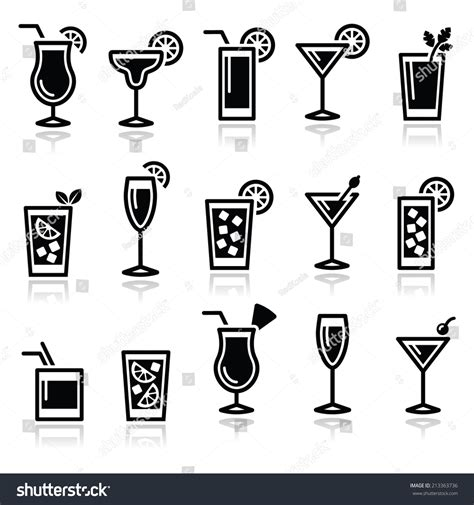 cocktail icon vector cocktails drinks glasses vector icons set stock vector