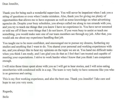 thank you letter after production supervisor thank you letter for internship supervisor