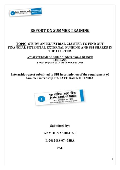 Sbi Internship For Mba by Summer In Sbi About Hosiery Cluster In Ludhiana City
