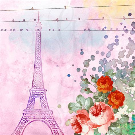 travel pattern in french watercolor paris digital photography backdrop seasons themed