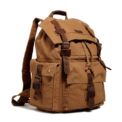 Canvas Travel Backpack fashion vintage canvas leather hiking travel backpack
