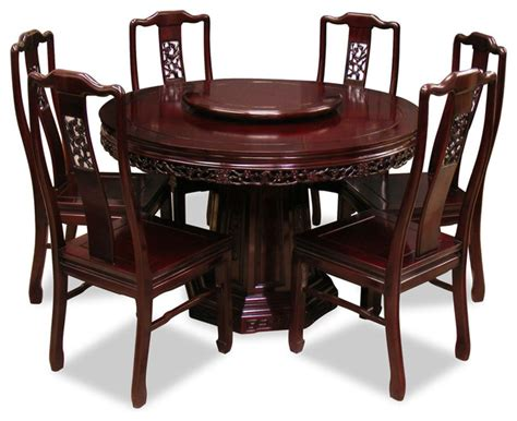 asian dining table 48in rosewood flower birds design round dining table