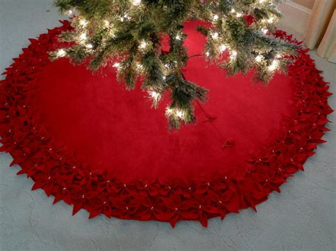 72 christmas tree skirt in premium red felt with a dbl