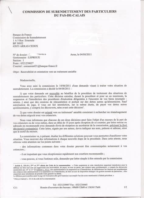 Exemple De Lettre Surendettement Modele Lettre Dossier Surendettement Banque