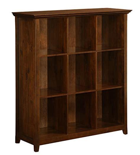 simpli home acadian ladder shelf bookcase rich tobacco brown simpli home axcb222 acadian collection 9 cube storage