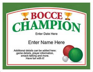 Backyard Baseball Free Bocce Champion Certificate Free Award Certificates