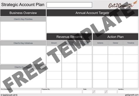The One Page Account Plan Template Key Account Plan Template Free