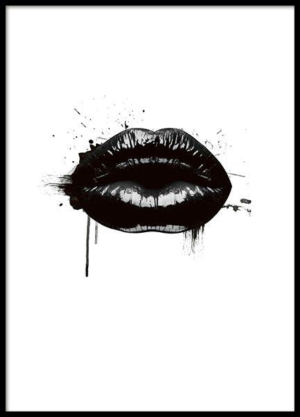 printable poster black and white fashion lips poster i gruppen posters och prints hos