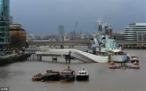 thames path sections hms belfast terror on thames as gangway collapses daily