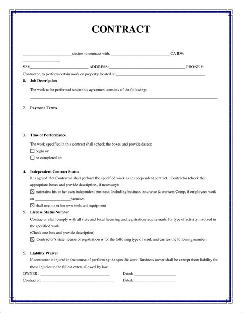 basic service contract template 3 simple contractsreport template document report template