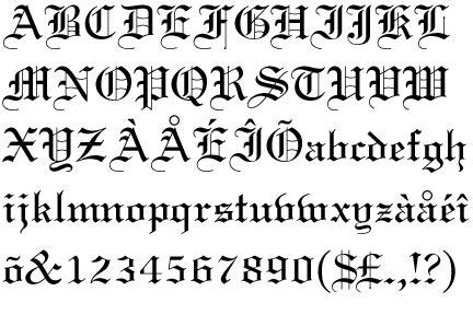 caratteri delle lettere textura