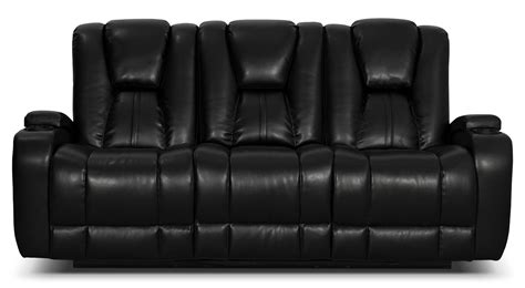 Zander Bonded Leather Power Reclining Sofa Black The Brick Bonded Leather Recliner Sofa
