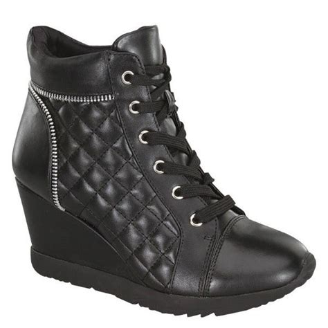 black quilted wedge sneaker shoes