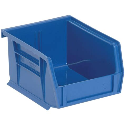 organization bins edsal 1 15 qt stackable plastic storage bin in blue 24