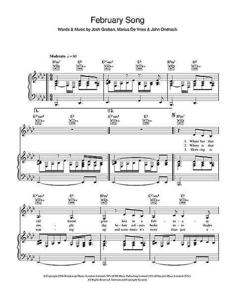 Josh Grobans For February Song february song sheet by josh groban piano vocal