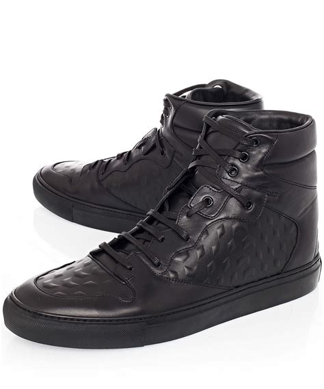 balenciaga black sneakers balenciaga monochrome debossed leather high top sneakers
