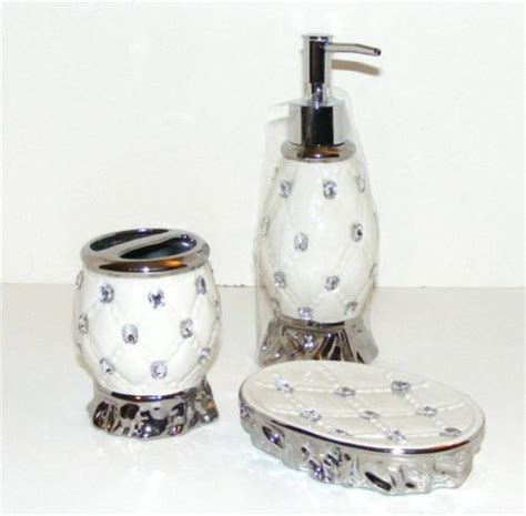 rhinestone bath accessory set quilted cushion