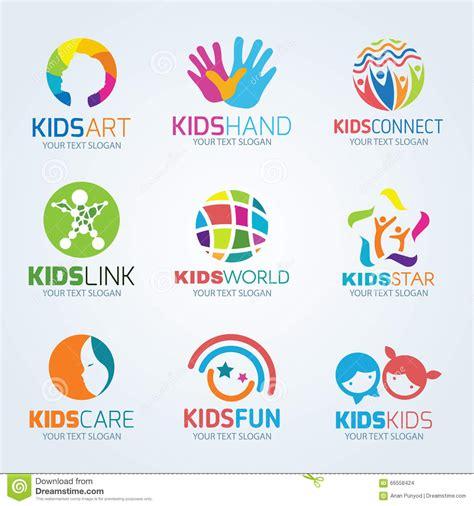 kids logo design stock illustration image of childhood kids child logo vector set design stock vector