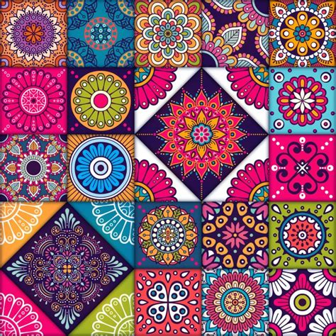 colorful tile colorful mandala tiles pattern vector free