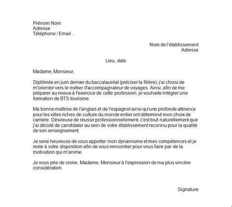 Lettre De Motivation Anglais Stage Bts Ci exemple lettre de motivation tourisme employment application