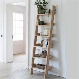 Oak leaning ladder shelving unit