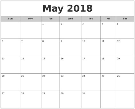 free printable calendar 2018 free printable calendar may may 2018 free monthly calendar